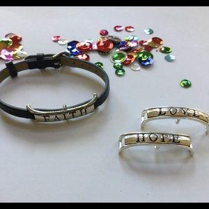 Jewelry - Interchangeable bracelet words. Faith Love Hope